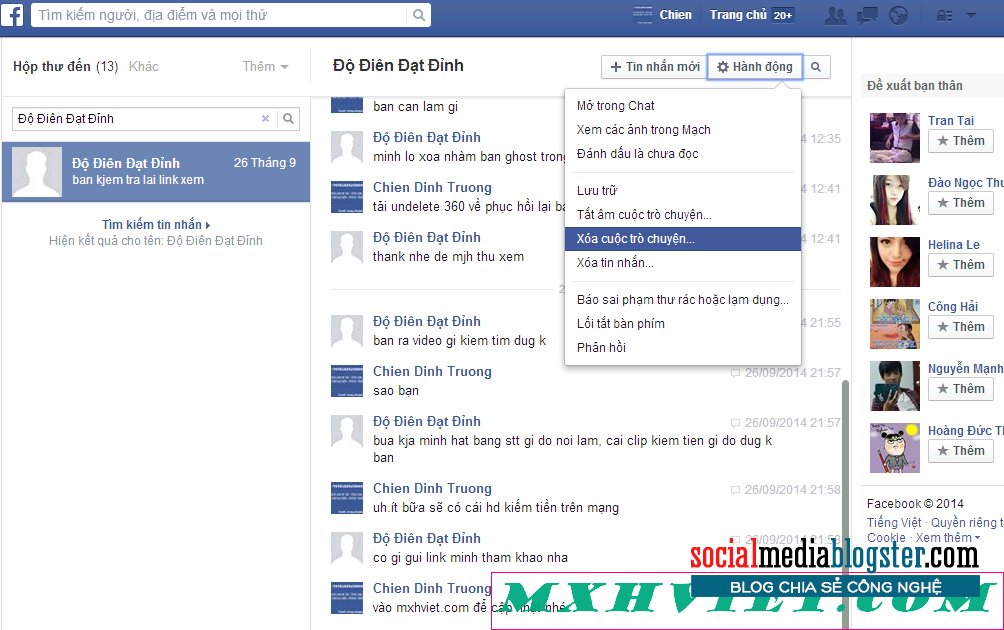xóa tin nhắn trên facebook