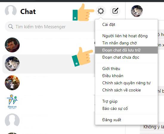 Bước 3: Nếu bạn muốn xem lại các tin nhắn đã lưu, hãy chọn biểu tượng Cài đặt, chọn Trò chuyện đã lưu trữ và các tin nhắn được lưu trữ sẽ xuất hiện.
