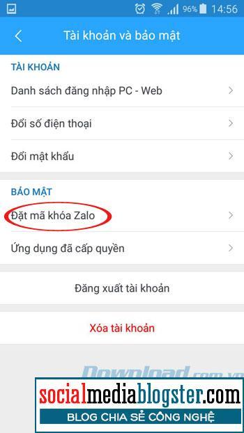 Đặt Key Zalo