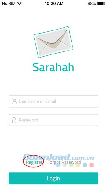 Đăng ký tài khoản Sarahah