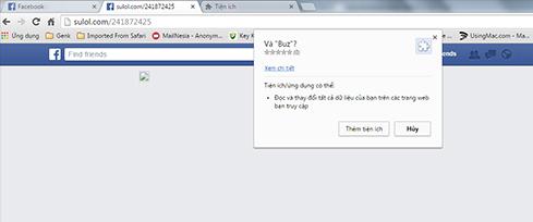 Facebook giả mạo yêu cầu cài đặt tiện ích mở rộng mới