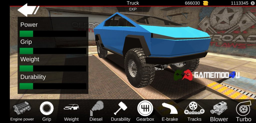 Tính năng trong game Offroad Outlaws mod full tiền