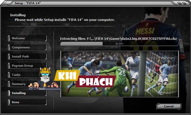 Chờ quá trình cài đặt Fifa 14 diễn ra :))