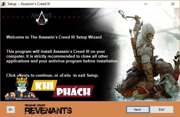 Chọn Tiếp theo để tiếp tục quá trình cài đặt Assassin's Creed III