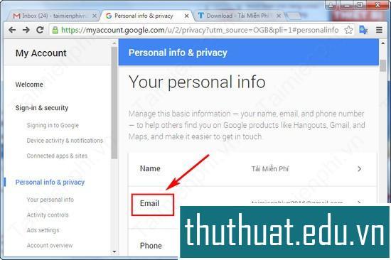 thêm email vào gmail