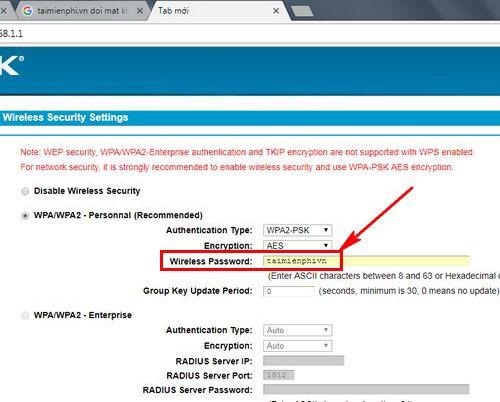 Cách kết nối mật khẩu wifi trên w8968 4
