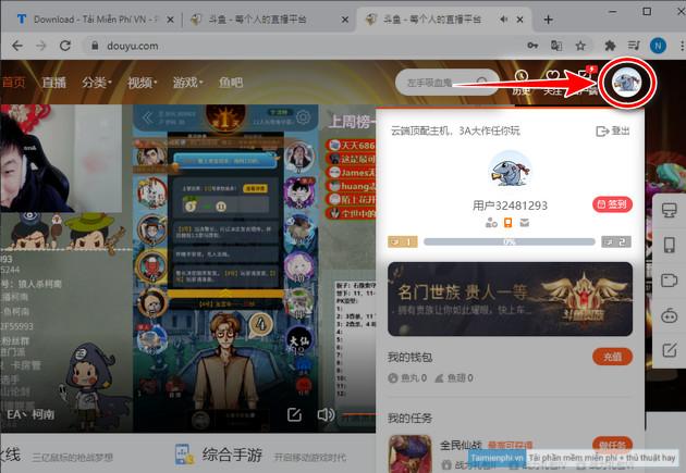 Cách tạo tài khoản douyu cho game livestream trên truyền hình