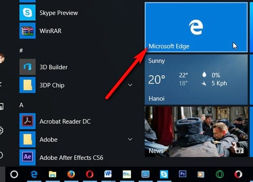 sử dụng IE để sử dụng web thay vì microsoft edge