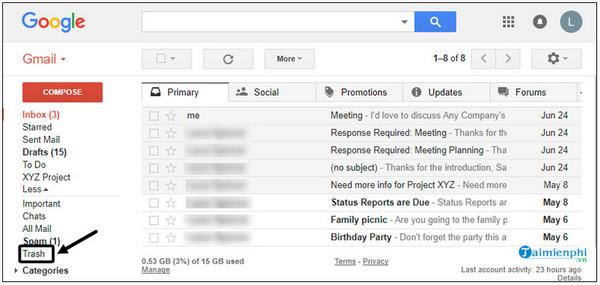 Huong Dan vui ve tin Nhan Da Xa trong gmail