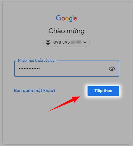 cách đăng nhập gmail bằng số điện thoại 3