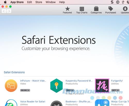 Trang web Tiện ích mở rộng Safari