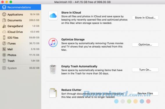 Sử dụng công cụ lưu trữ trong macOS Sierra