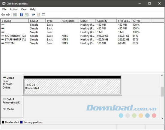 Quản lý đĩa Windows 10
