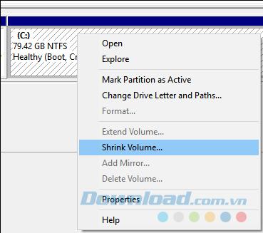 Chọn Shrink Volume