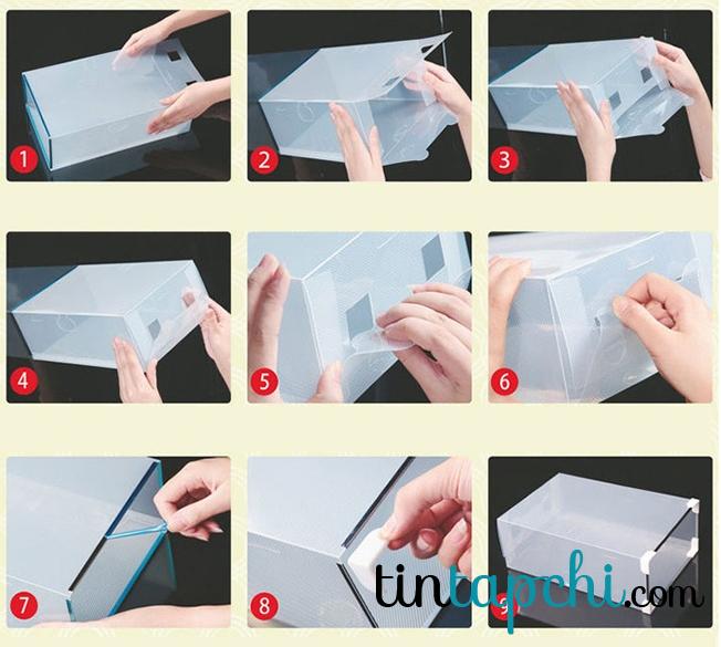 Hình dáng và cách sử dụng hộp đựng giày trong suốt với ngăn kéo viền kim loại