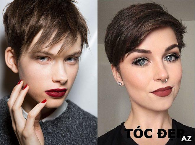 2 phụ nữ trang điểm đậm với kiểu tóc cực ngắn