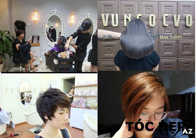 Không gian làm tóc và mẫu tóc được cắt tại tiệm cắt tóc Vũ Ngọc Võ