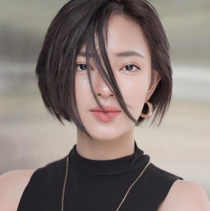 Tóc ngắn nhiều lớp cho mặt tròn nữ