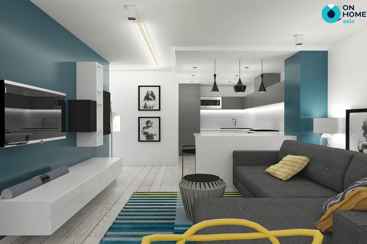 Phòng khách màu tối giản