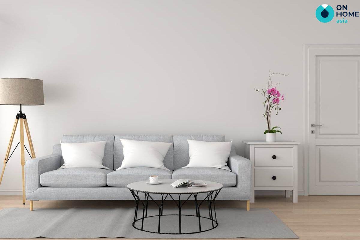 Phòng khách được thiết kế theo phong cách tối giản