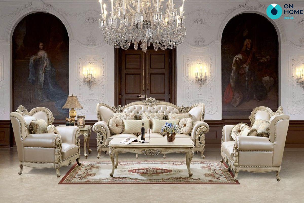 Phòng khách với đồ nội thất cổ điển