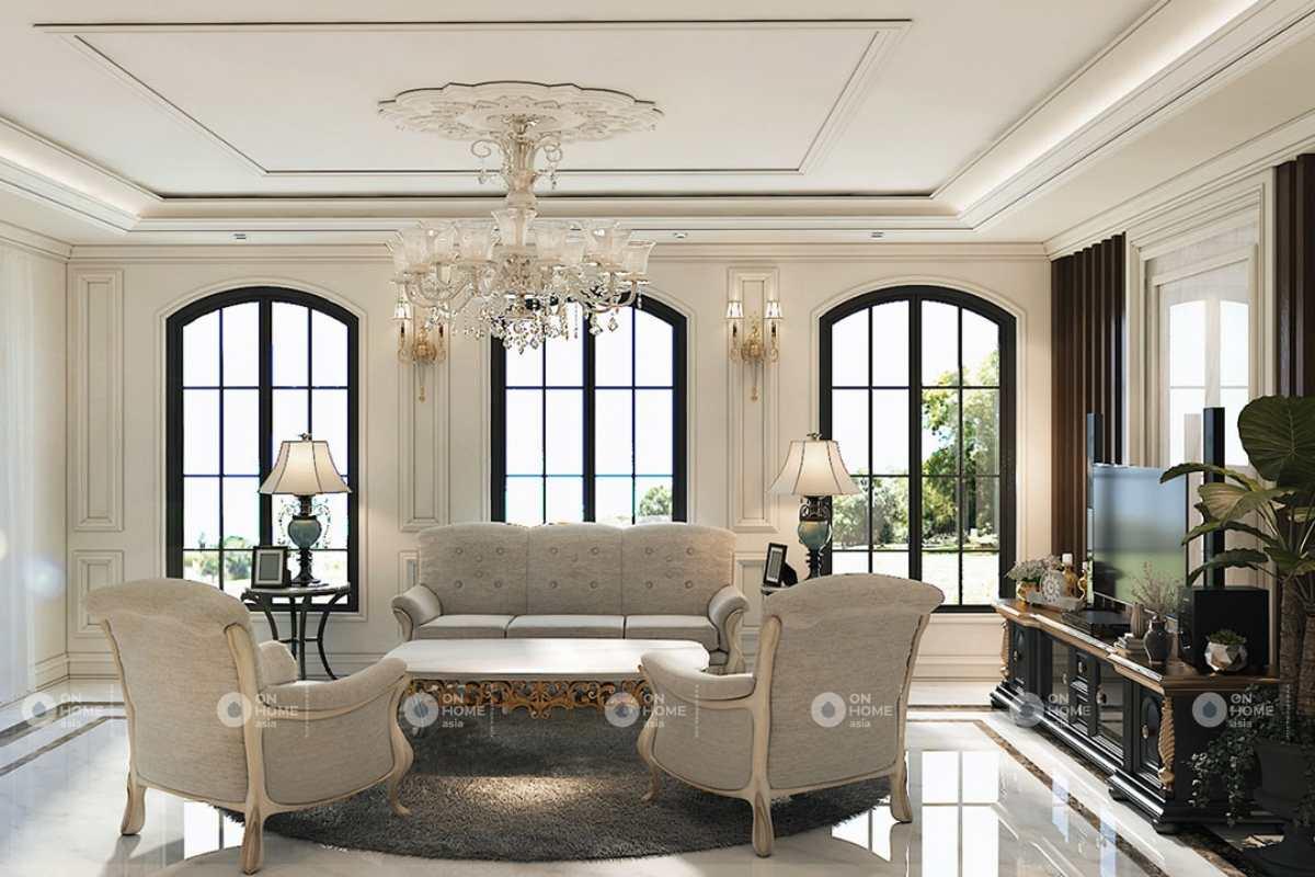 Thiết kế nội thất nhà 4 tầng phong cách tân cổ điển