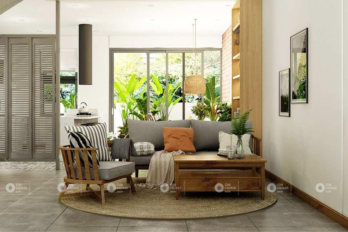 Thiết kế phòng khách nhà phố phong cách mộc mạc