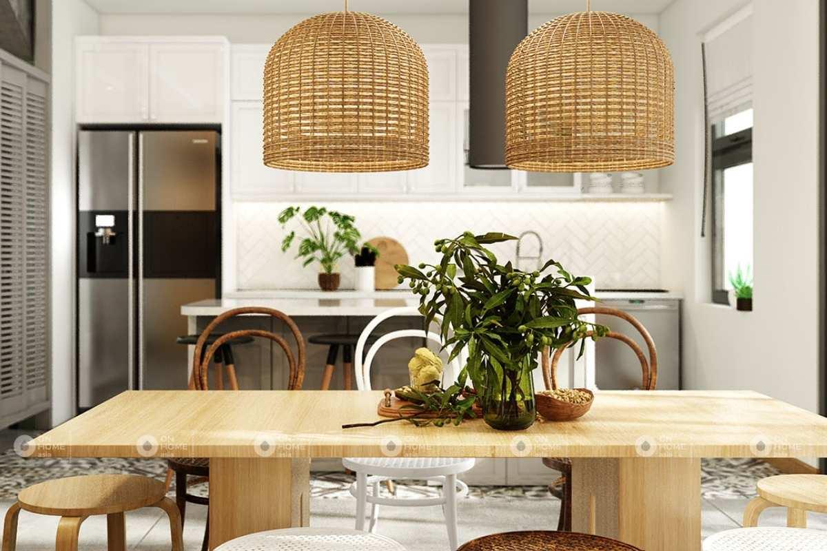 Phòng ăn nội thất nhà phố phong cách mộc