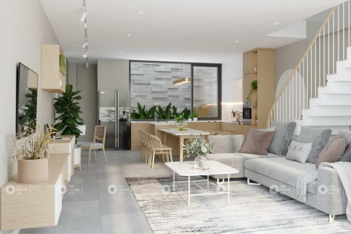 Thiết kế nội thất nhà phố với phòng khách và bếp liền kề