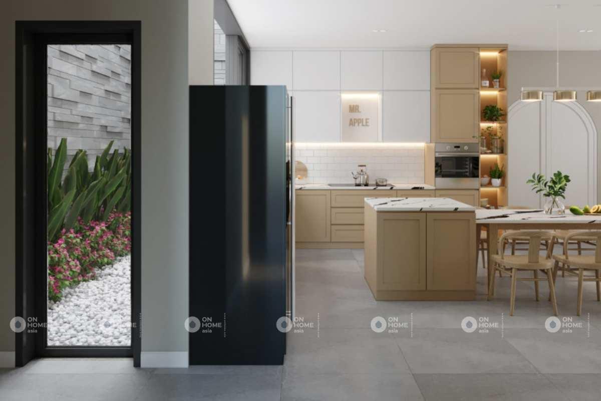 Phòng bếp của nội thất nhà phố 100m2 rộng rãi, thoáng mát.