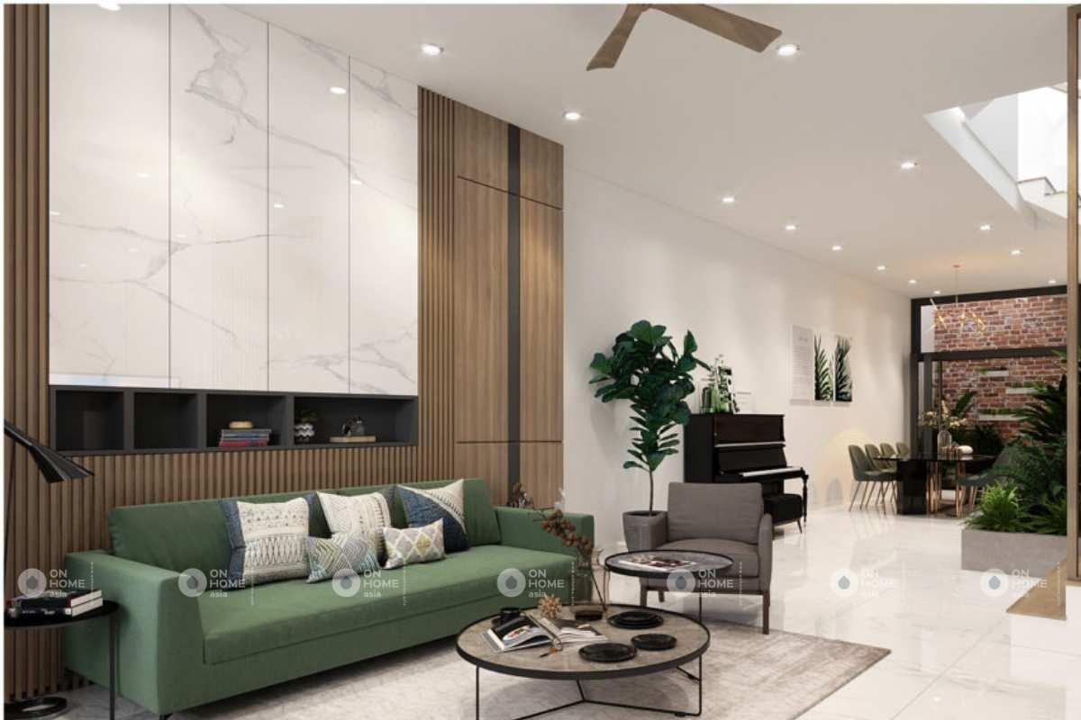 Màu xanh lá cây đóng vai trò quan trọng trong các thiết kế nội thất nhà phố đẹp