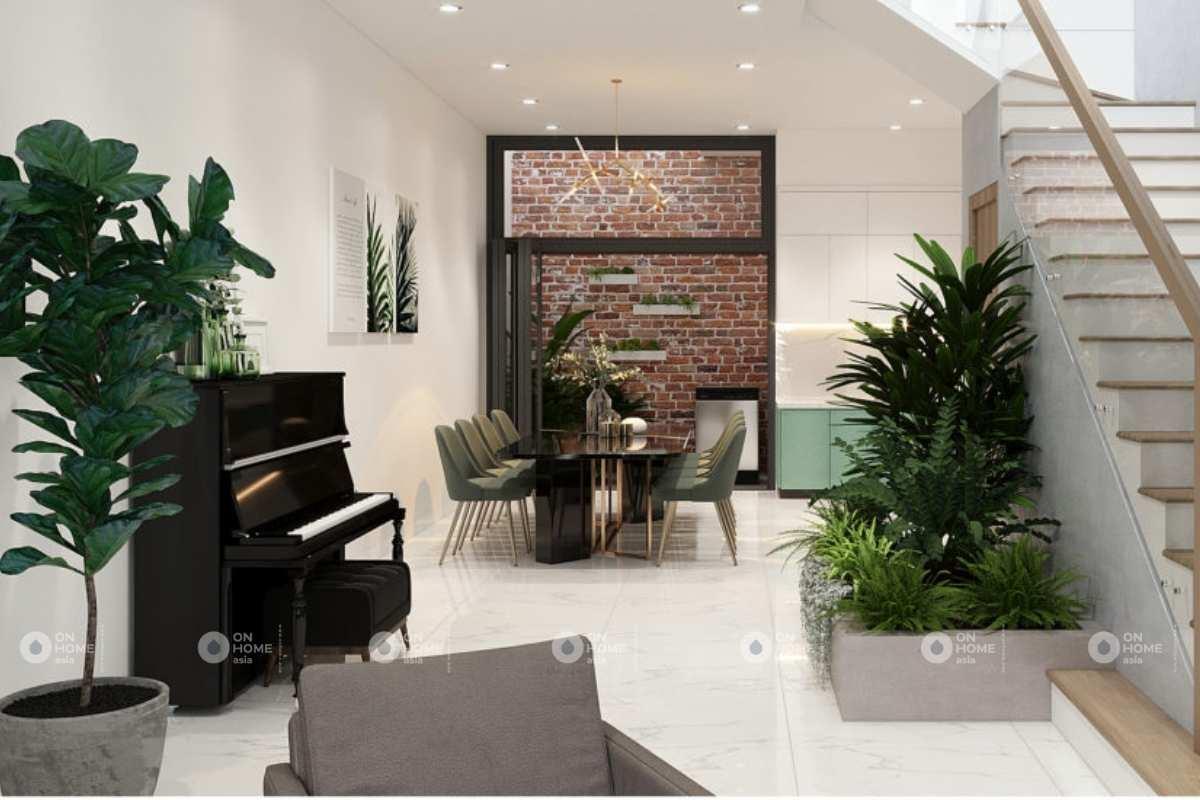 Thiết kế nội thất nhà phố 100m2 với những mảng xanh bắt mắt