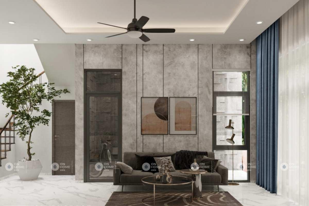 Phòng khách nhà phố 100m2 với gam màu xám cá tính