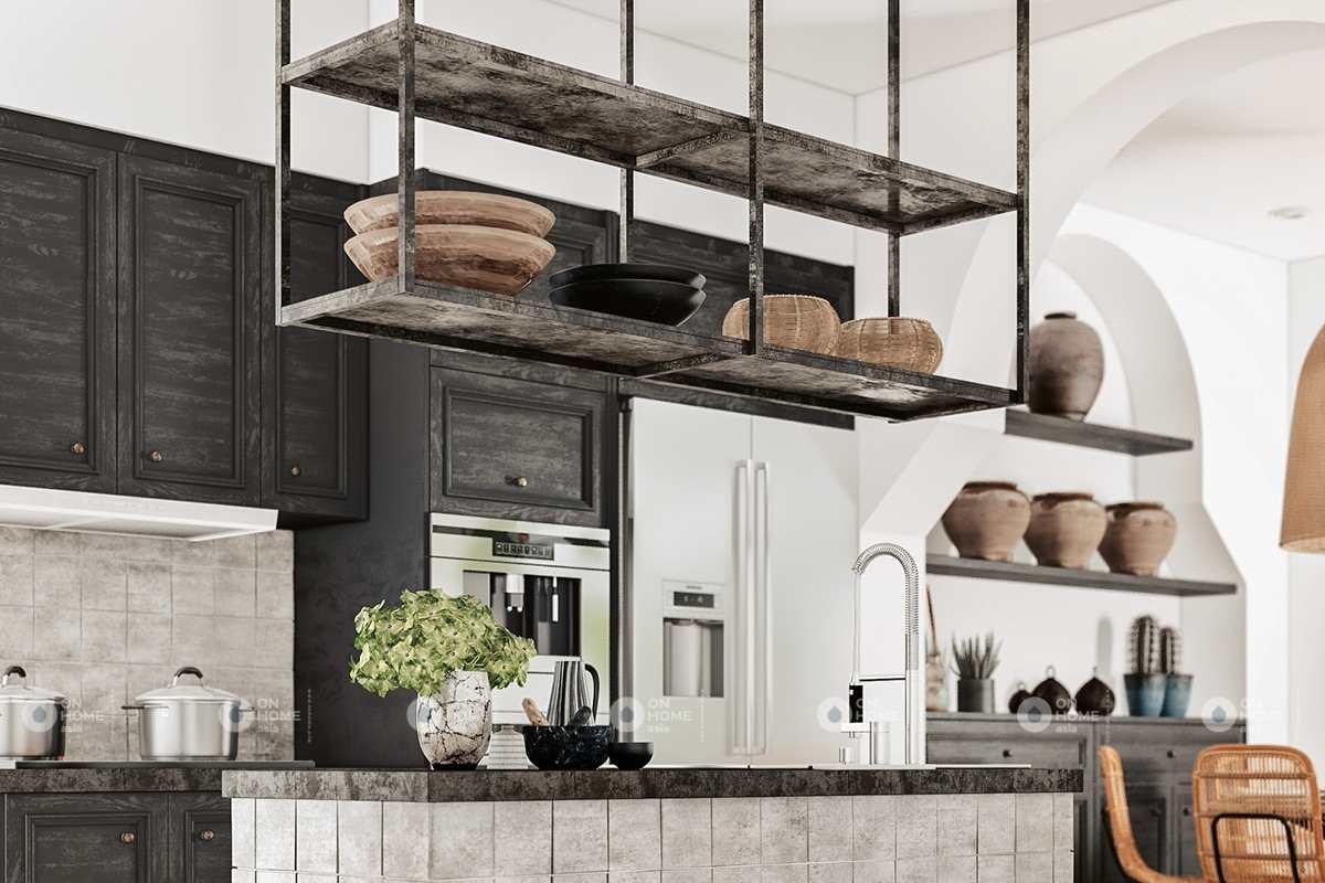 Căn bếp với gam màu đen mộc mạc và ấn tượng