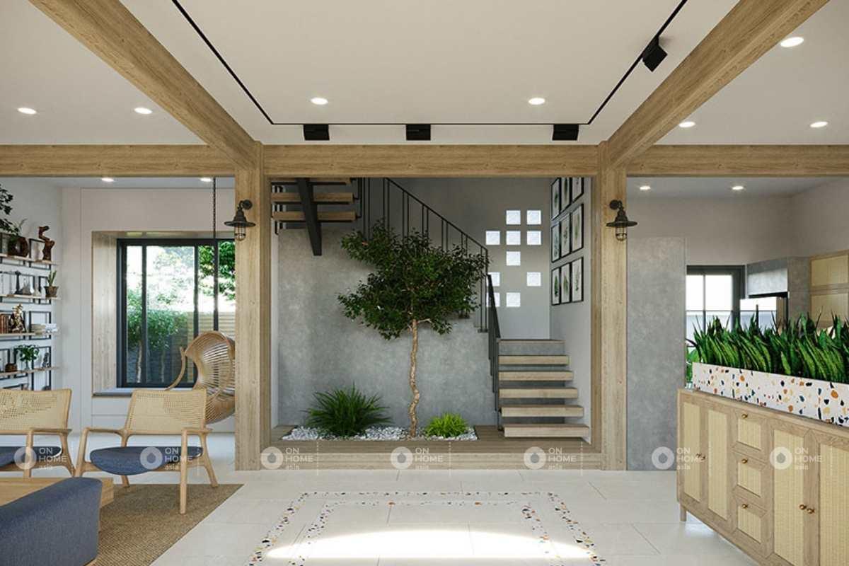 Thiết kế nội thất nhà phố với mảng xanh