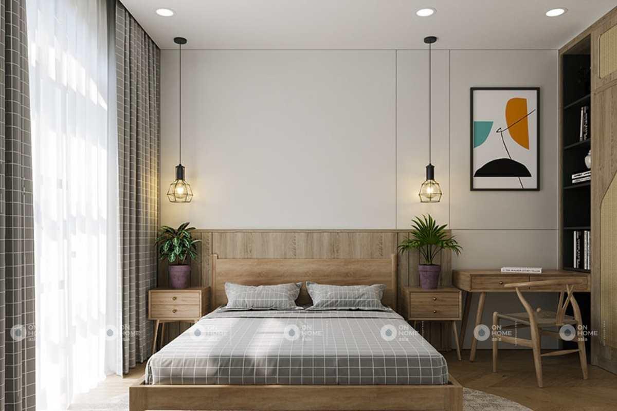 Không gian phòng ngủ được bố trí gọn gàng, tinh tế