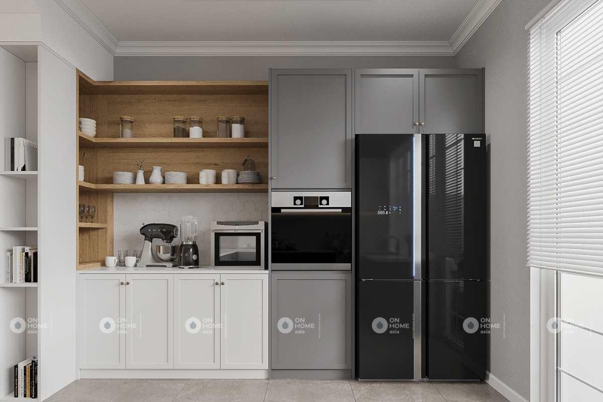 Tủ bếp được thiết kế gọn gàng, sạch sẽ