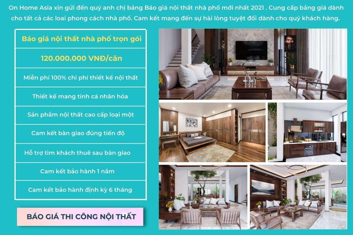 Báo giá thiết kế nội thất nhà phố