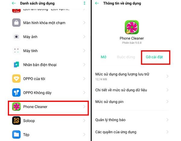 Các bước gỡ cài đặt ứng dụng trên Oppo