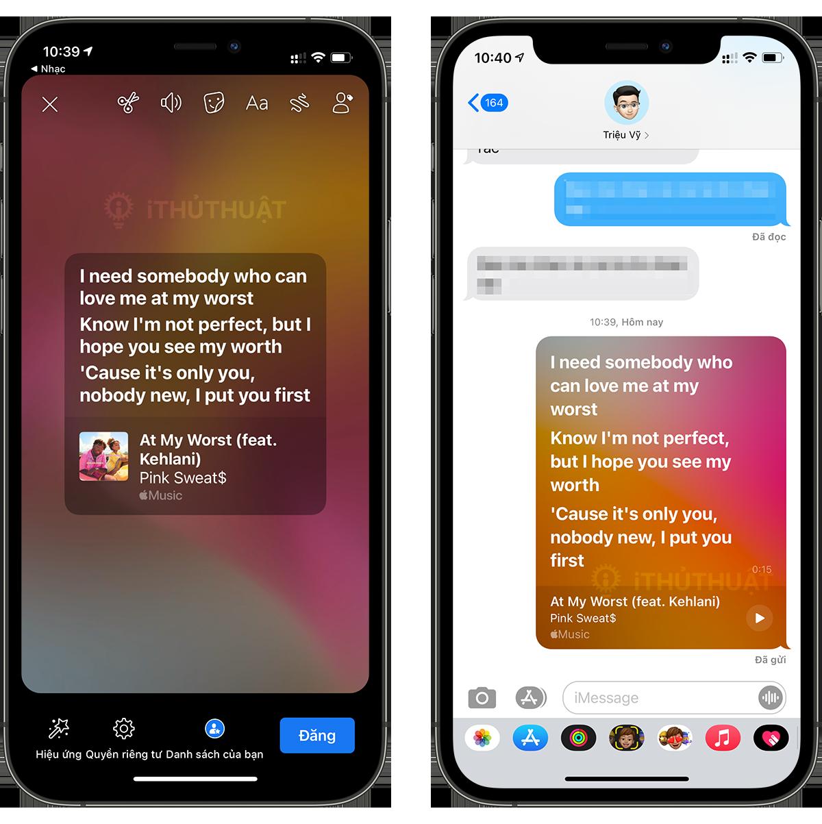 Cách chia sẻ lời bài hát trong Apple Music 7