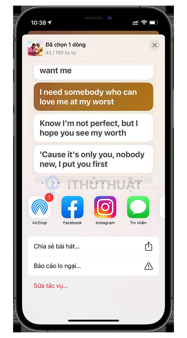 Cách chia sẻ lời bài hát trong Apple Music 6