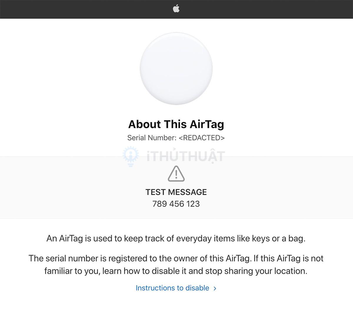 Cách tìm số sê-ri và phiên bản phần mềm của AirTag 7
