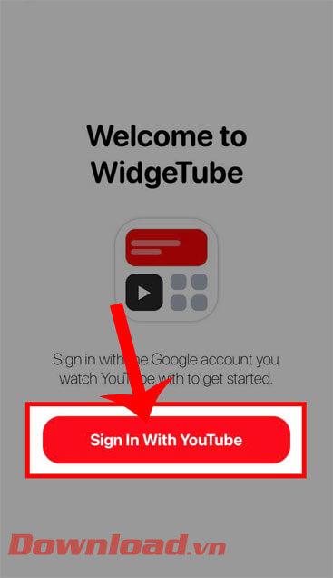 Nhấp vào nút Đăng nhập bằng YouTube
