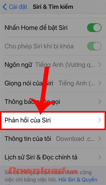 Nhấn vào Phản hồi Siri