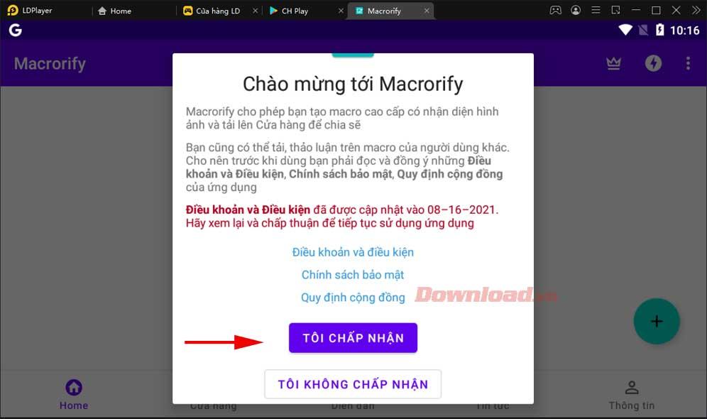 """<p>1. Nhập Macrorify vào trường tìm kiếm, sau đó nhấp vào kết quả tương ứng xuất hiện.  Nhấn nút Cài đặt.  Chờ """"/></p></div> </li> <li> <div class="""