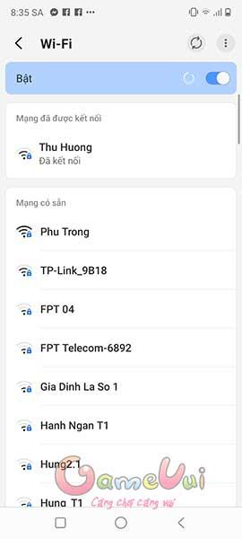 Thay đổi mạng Wifi hoặc sử dụng 4G