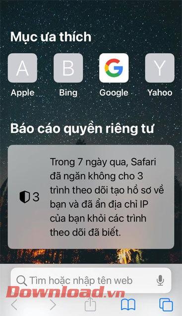 Hình nền Safari đã được thay đổi