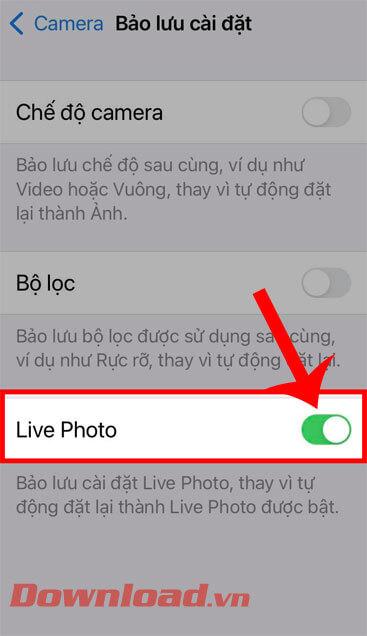 """<p><strong>Bước 4:</strong> <strong>Lật nút chuyển tại Live Photo</strong>, để bật và sử dụng chế độ. """"/></div> </li> </ul> </div> </div> </div> <div class="""