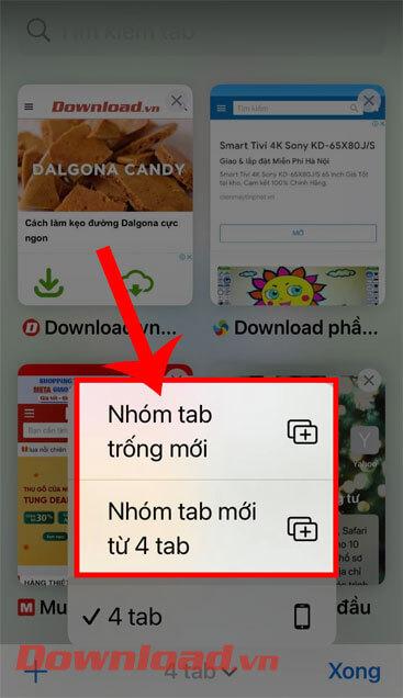 Nhấn vào Nhóm tab trống mới hoặc Nhóm tab mới từ… tab