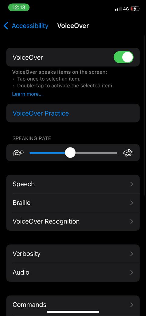 Thay đổi tốc độ đọc màn hình
